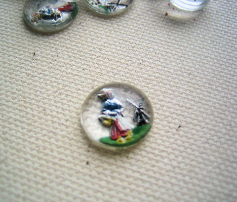 Reverse,Painting,Glass,Cabochons,Dutch,Girl,Windmill,set,of,2,vintage glass cabochons, reverse painting, reverse painted, intaglio, Dutch girl, Dutch woman, windmill, round cabochons