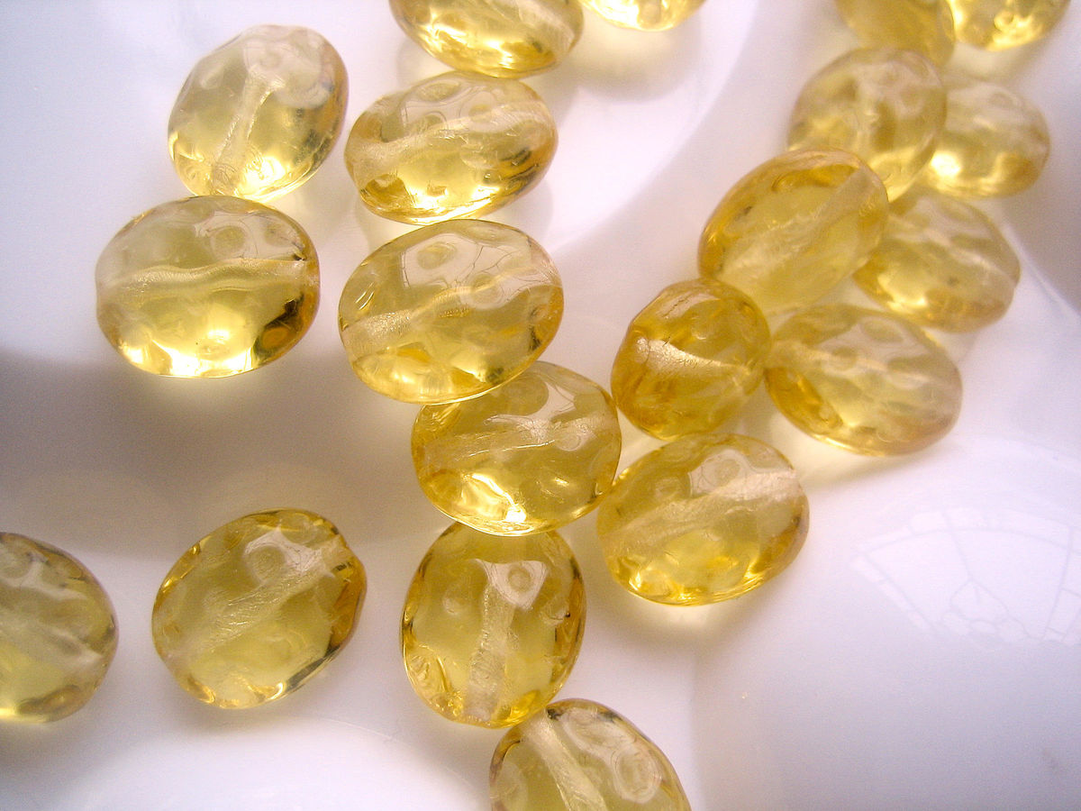 Oval Czech Glass Beads 9mm x 11mm light topaz yellow 24 - product images  of
