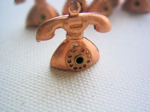 Telephone,Charm,1,vintage,copper,piece,telephone charm, copper charm, rotary dial charm, copper metal charms