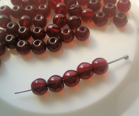 Dark,Red,Translucent,Glass,Beads,6mm,100,6mm round beads, Czech glass beads, red glass beads, Czech glass druks, beads dark red, bulk beads, bead lot