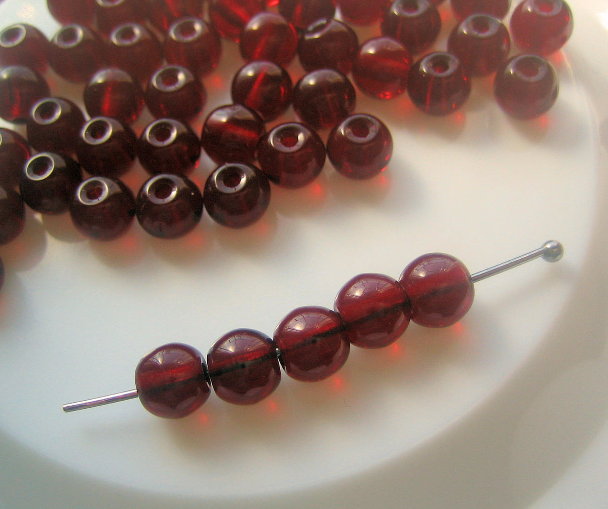 Dark Red Translucent Glass Beads 6mm 100 - product images  of
