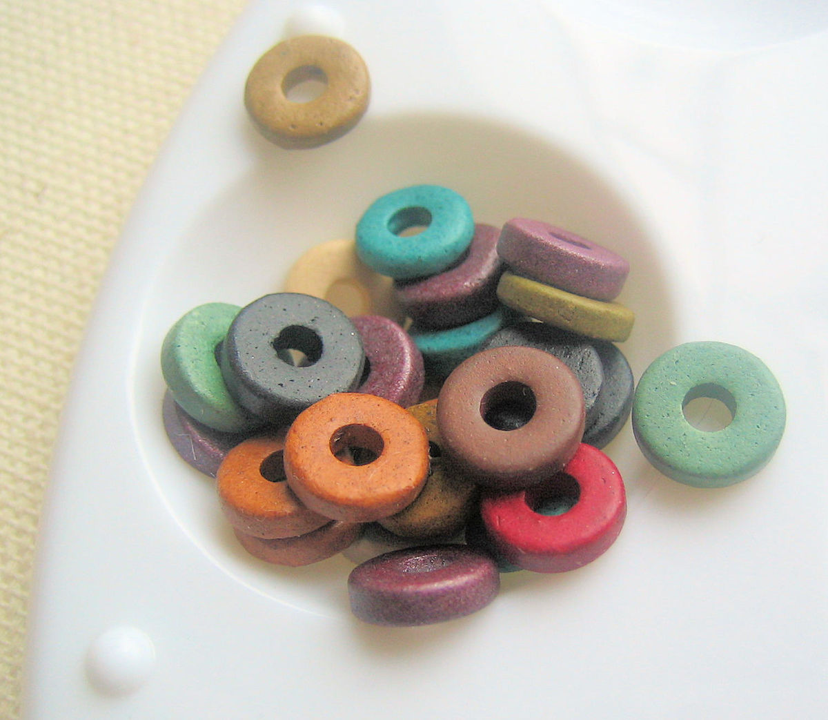 Mixed Greek Ceramic Washer Beads 8mm 50 - product images  of