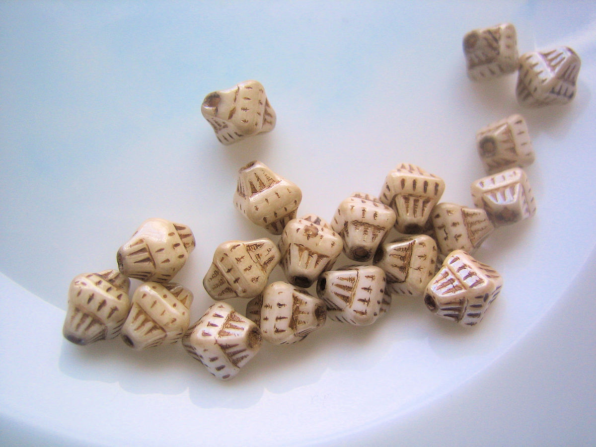 Double pyramid Egyptian Revival Style vintage beads 33 - product images  of