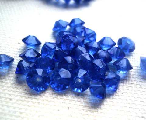 Glass,Bicone,Rondelles,5mm,sapphire,blue,vintage,50,glass beads, blue beads, Czech glass, vintage beads, small glass beads, tiny rondelle beads, bicone shortened beads, blue sapphire glass bead