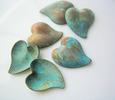 Vintage,brass,stylized,hearts,with,patina,6,brass hearts, stylized hearts, no-hole charms, vintage supplies, unusual craft supplies, brass with patina, blue green patina charms, mixed media supplies, assemblage supplies