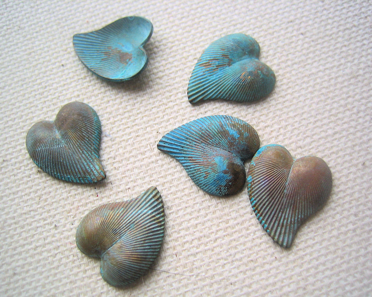 Vintage brass stylized hearts with patina 6 - product images  of