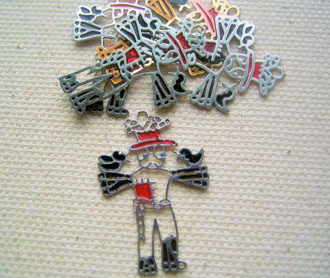 Scarecrow,components,thin,metal,with,colour,5,scarecrow charms, metal craft components, flat charms, mixed media supplies, unusual craft supplies, vintage craft suppliesscarecrow elements, card making supplies