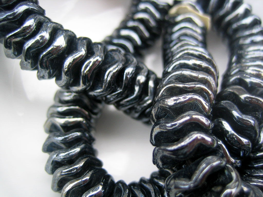 Vintage Gunmetal Glass Rondelles  6mm and 10mm, 48 beads - product images  of