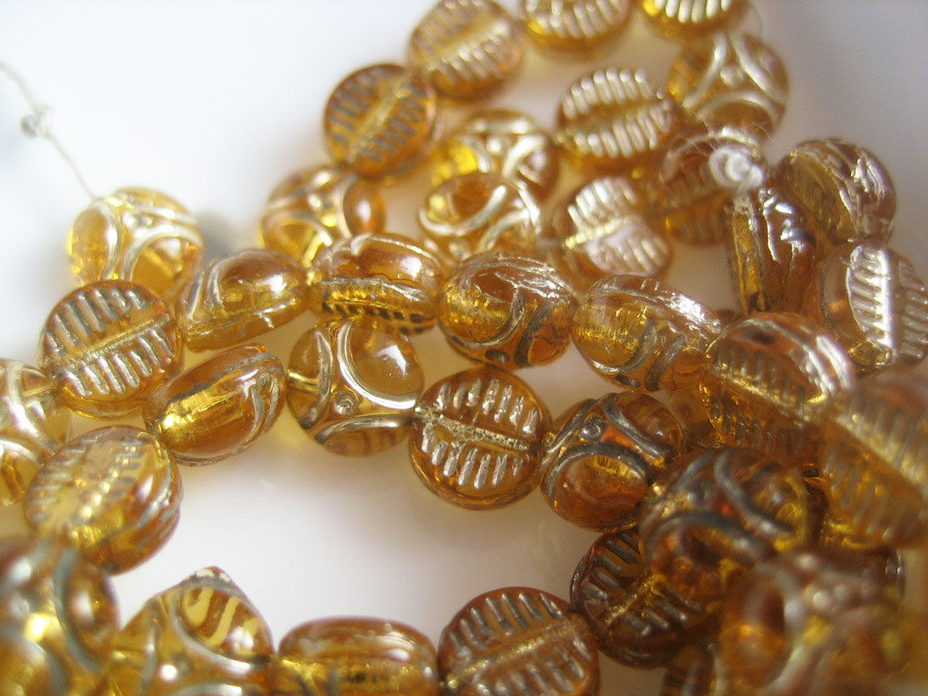 Vintage Glass Nail Head Beads amber 5mm 40 - product images  of