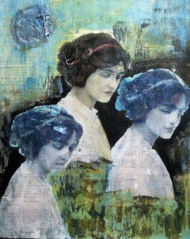 The,Three,Muses,abstract, painting, art, original, signed, impetuous, expressive, emotive, for sale, interiors, interiordesign, decor, statement, collage, vintage, images