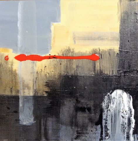 Optimistic, painting, art, original, abstract, signed, expressive, emotive, evocative, for sale, interiors, interior design, decor, architects, art collectors, artdealers, unique, sought after, contemporary art, complimentary colours, grey, red, black, white
