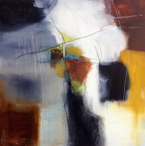 Futurescope, painting, art, original, abstract, signed, expressive, emotive, evocative, for sale, interiors, interior design, decor, architects, art collectors, artdealers, unique, sought after, contemporary art, complimentary colours, grey, yellow ochre, blu