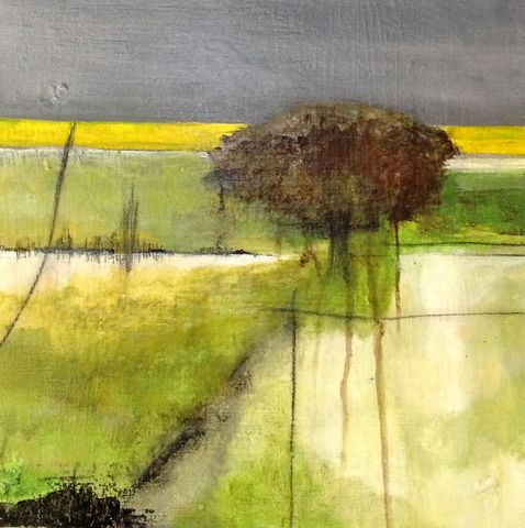 Solitary,Tree,painting, abstract, modern art, wall art, contemporary art, landscape painting, tree, fields, sky, art, artist, interior design, decor, interiors, architects, art for sale, galleries, green, yellow, brown, grey