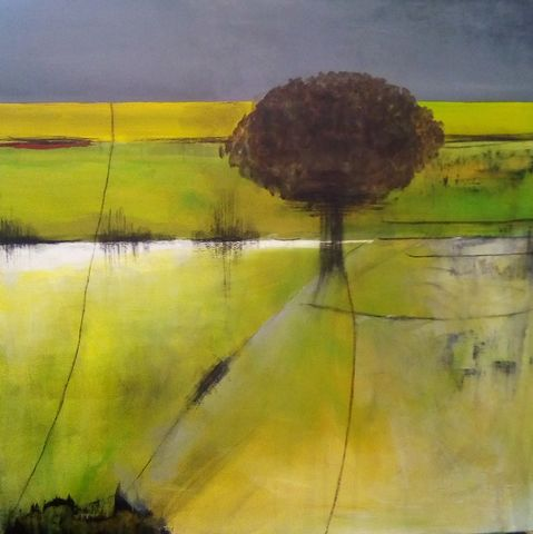 Solitary,Tree,III,art, painting, abstract, landscape, acrylic paint, charcoal, varnished, modern art, contemporary art, wall art, original, unique, green, yellow, grey, brown, white, interior design, decor, interiors, architects, art for sale, canvas, professional artist