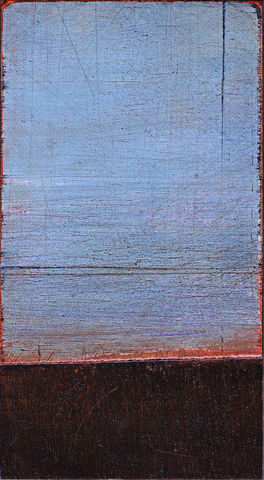 Timeless,I,SOLD,painting,sky,blue,turquoise,horizon,landscape,copper,metallic,evening