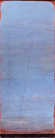 Timeless,II,SOLD,painting,metallic,sky,horizon,blue,copper,lines,drawing