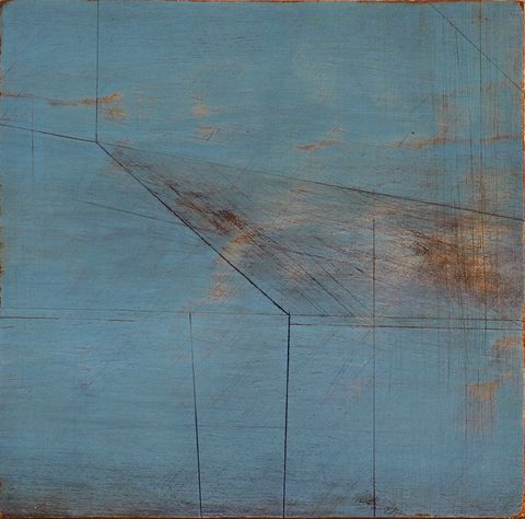 Escarpment,I,painting, turquoise,rust,ply,lines