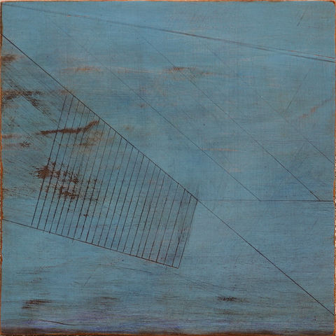 Escarpment,II,painting, turquoise,rust,ply,lines