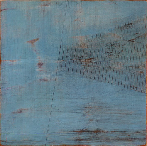 Escarpment,III,painting, turquoise,rust,ply,lines