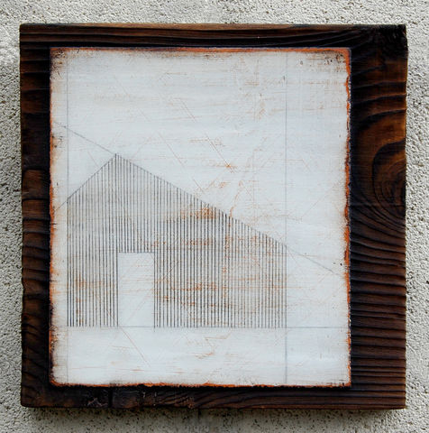 Sheltering,I,SOLD,painting,wood,building,shed,lines,white,orange