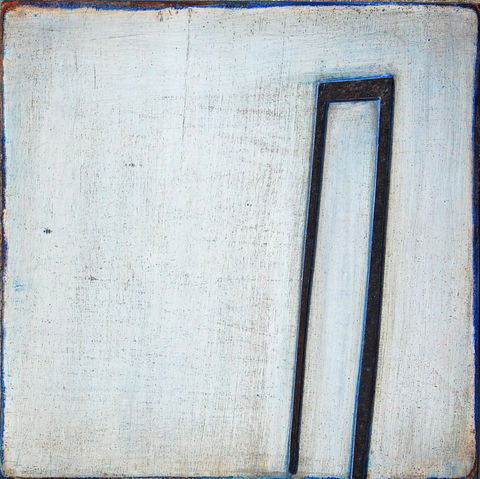 Still,here,III,acrylic,card, plaster,white,blue