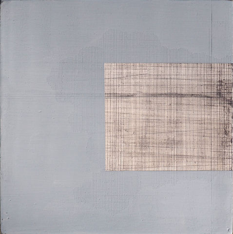 Hide,&,seek,I,acrylic,plaster,white,blue,lines