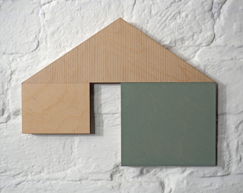 utopian,5,-,green,plywood,lasercut,house,building,architecture,wall sculpture, painting, geometric