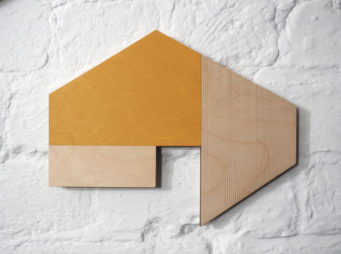 utopian,6,-,yellow,plywood,lasercut,house,building,architecture,wall sculpture, painting, shed, cabin, sculptural paintings