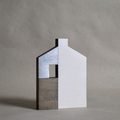 House,-,white/silver,no.2,sculpture, lasercut, plywood, house, architecture, miniature, gilded, silver, white, wood