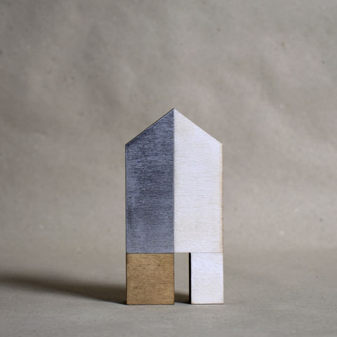 House,-,white/silver,no.3,sculpture, lasercut, plywood, house, architecture, miniature, gilded, silver, white, wood