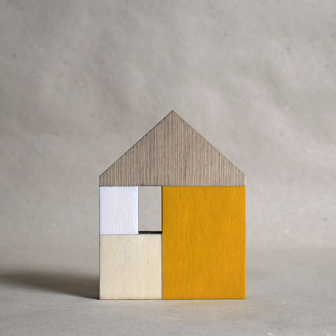 House,-,yellow,no.4,sculpture, lasercut, plywood, house, architecture, miniature, yellow, white, wood