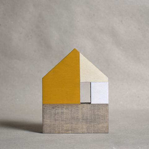 House,-,yellow,no.5,sculpture, lasercut, plywood, house, architecture, miniature, yellow, white, wood