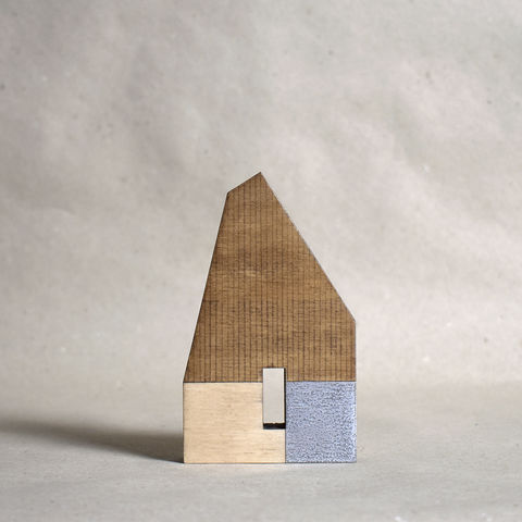 Hut,-,brown/silver,no.7,sculpture, lasercut, plywood, house, architecture, miniature, gilding, silver, wood, hut