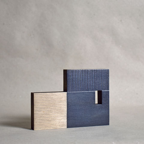 Cabin,-,indigo,no.8,sculpture, lasercut, plywood, house, architecture, miniature, copper gilding, blue, wood, scandinavian,nordic