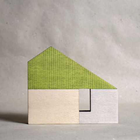 House,-,green,no.10,sculpture, lasercut, plywood, house, architecture, miniature, green, wood, modernist