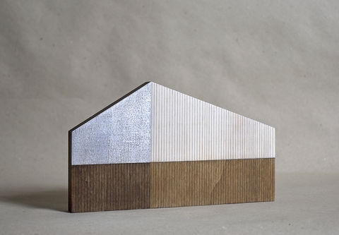 Barn,-,natural/silver,no.11,sculpture, lasercut, plywood, house, architecture, miniature, gilding, silver, wood, barn, timber