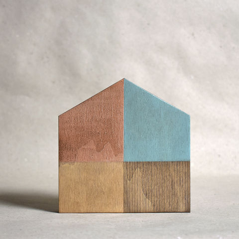 House,-,turquoise/copper,no.12,sculpture, lasercut, plywood, house, architecture, miniature, gilding, copper, wood, barn, timber