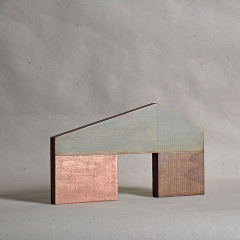 Barn,-,aged/copper,no.13,sculpture, lasercut, plywood, house, architecture, miniature, gilding, copper, wood, barn, timber