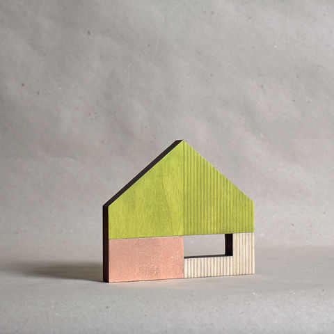 House,-,green/copper,no.14,sculpture, lasercut, plywood, house, architecture, miniature, gilding, copper, wood, barn, timber