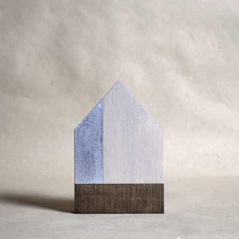 House,-,white/silver,no.16,sculpture, lasercut, plywood, house, architecture, miniature, gilding, silver, wood, barn, metal