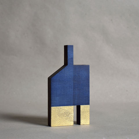 House,-,indigo/gold,no.17,sculpture, lasercut, plywood, house, architecture, miniature, gilding, wood, barn, gold, chimney