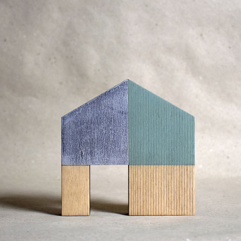 House,-,turquoise/silver,no.20,sculpture, lasercut, plywood, house, architecture, miniature, gilding, wood, barn, silver