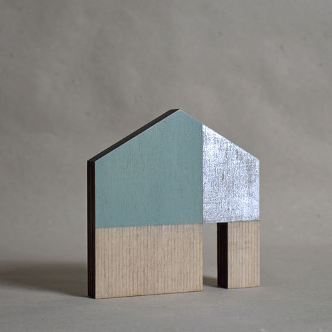 House,-,turquoise/silver,no.21,sculpture, lasercut, plywood, house, architecture, miniature, gilding, wood, silver, modern, contemporary, scandal