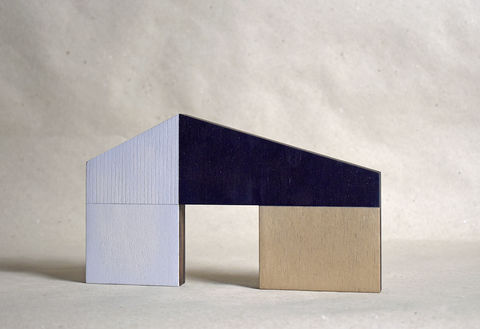 Barn,-,white/dark,no.22,sculpture, lasercut, plywood, house, architecture, miniature, wood, white, dark blue,modern, contemporary, scandal