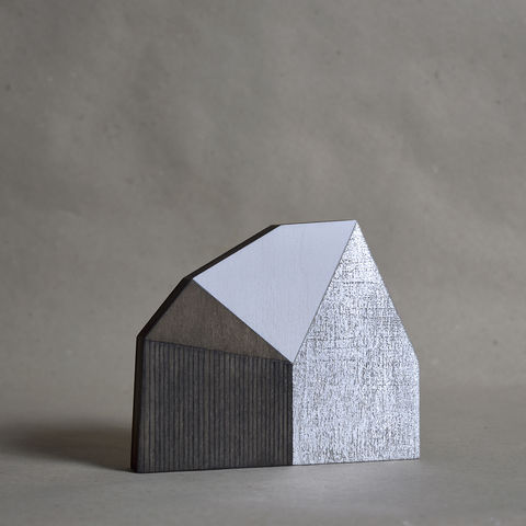 Abstract,House,-,dark/silver,no.25,sculpture, lasercut, plywood, house, architecture, miniature, wood, white, silver, abstract, contemporary, scandal