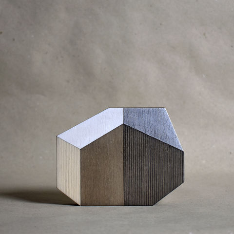 Abstract,House,-,dark/silver,no.27,sculpture, lasercut, plywood, house, architecture, miniature, wood, white, silver, abstract, contemporary, scandal