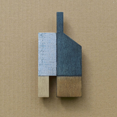 House,-,prussian/silver,w.2,plywood, house, wall sculpture, silver, chimney, blue