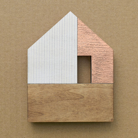 House,-,white/copper,w.1,copper, plywood, house, little, mini,wall hung