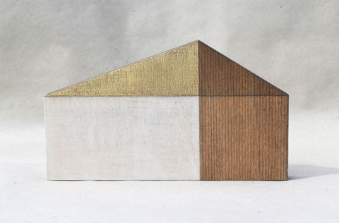 Barn,-,aged/gold,no.30,sculpture, lasercut, plywood, house, architecture, miniature, gilding, gold, wood, barn, timber