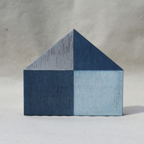 House,-,blue/silver,no.31,sculpture, lasercut, plywood, house, architecture, miniature, blue, silver, wood, gable, metal